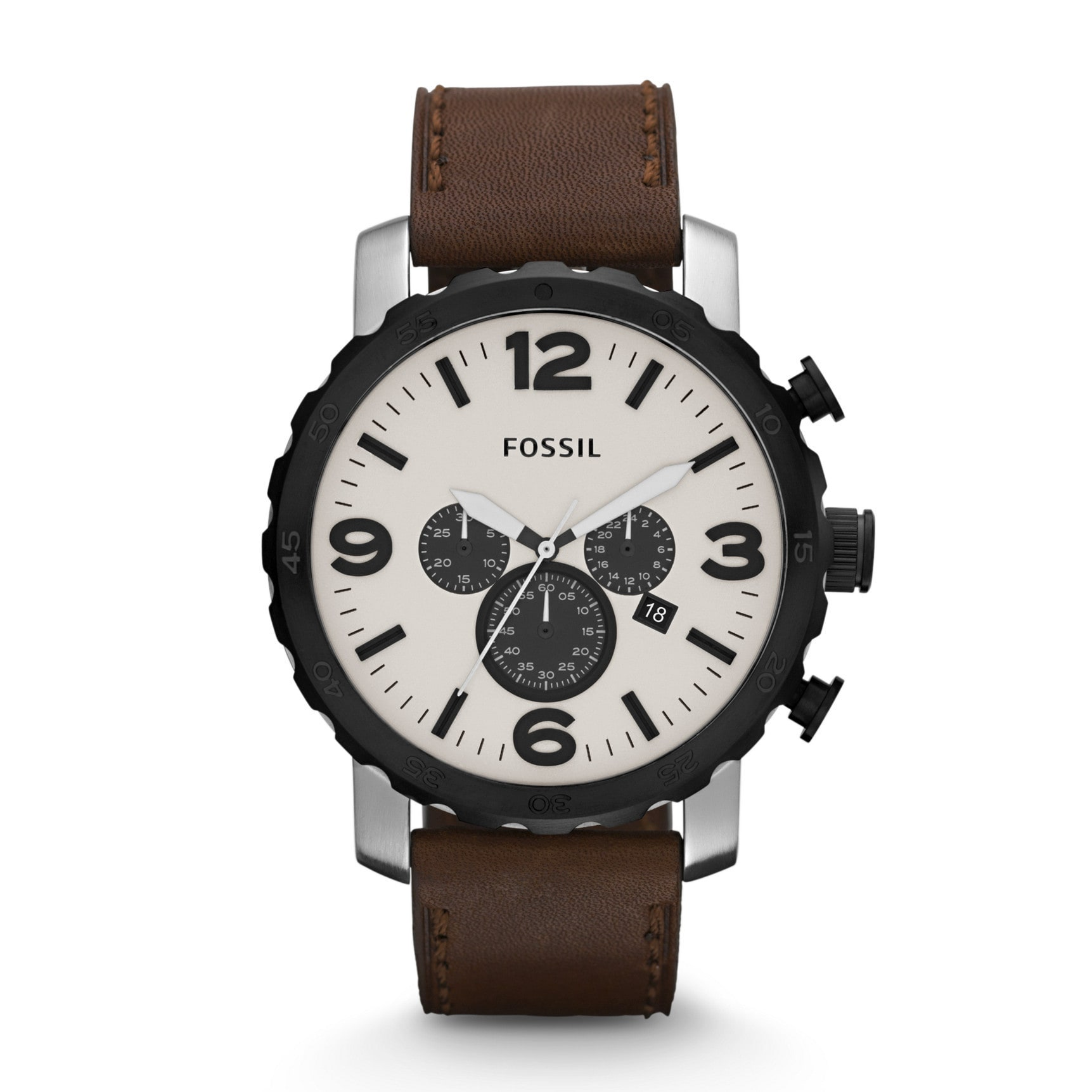 Fossil Men's 'Nate' Brown Leather Strap/ Beige Dial Watch...
