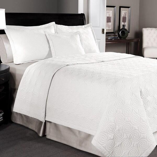Maison White Cotton 3-piece Quilt Set