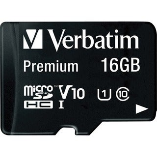 Verbatim 16GB Premium microSDHC Memory Card with Adapter, UHS-I Class