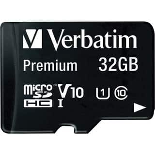 Verbatim 32GB Premium microSDHC Memory Card with Adapter, UHS-I Class 10