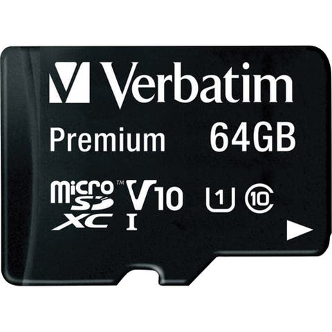 Verbatim 64GB Premium microSDXC Memory Card with Adapter, UHS-I Class 10