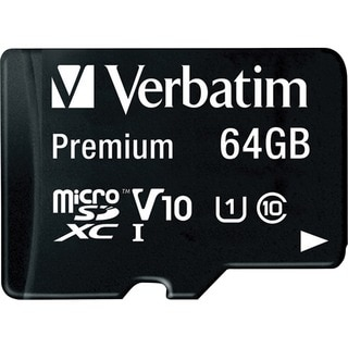 Verbatim 64GB Premium microSDXC Memory Card with Adapter, UHS-I Class