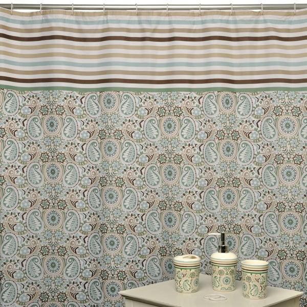 Paisley Prism Latte Shower Curtain and Bath Accessory 16-piece Set