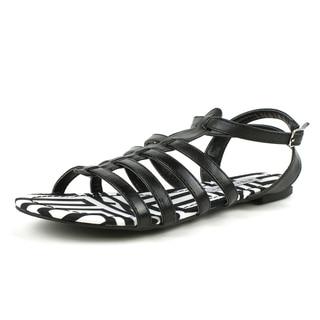 Mark & Maddux Women's 'AZTEC-01' Tribal Print Flat Sandals in Black