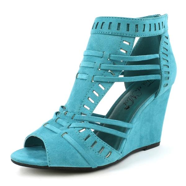 Toi Et Moi Women S Elisha 01 Teal Bohemian Wedge Sandals