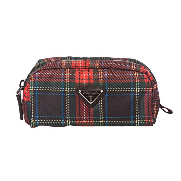 Prada 'Tartan' Plaid Nylon Cosmetic Bag