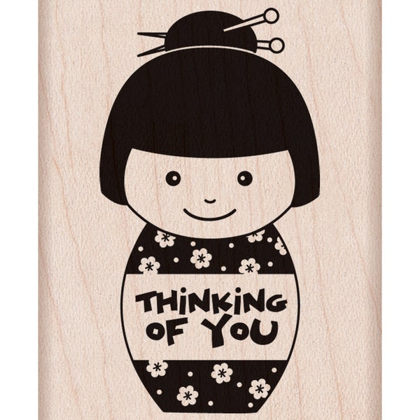 """Hero Arts Mounted Rubber Stamps 4""""X1""""-Thinking Of You Girl"""