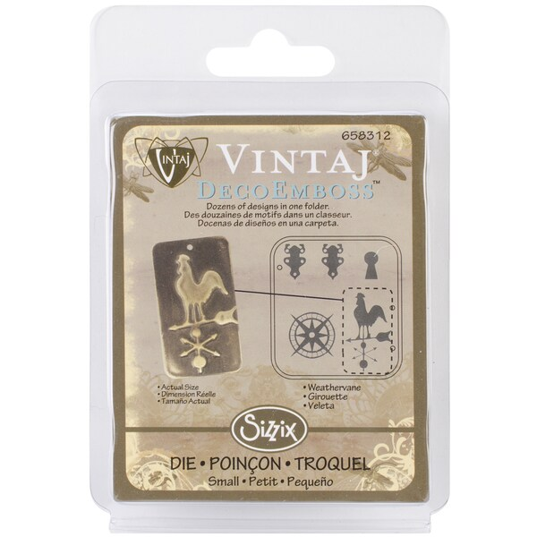 "Sizzix DecoEmboss Embossing Folder 2.725""X2.375"" by Vintaj-Weathervane"