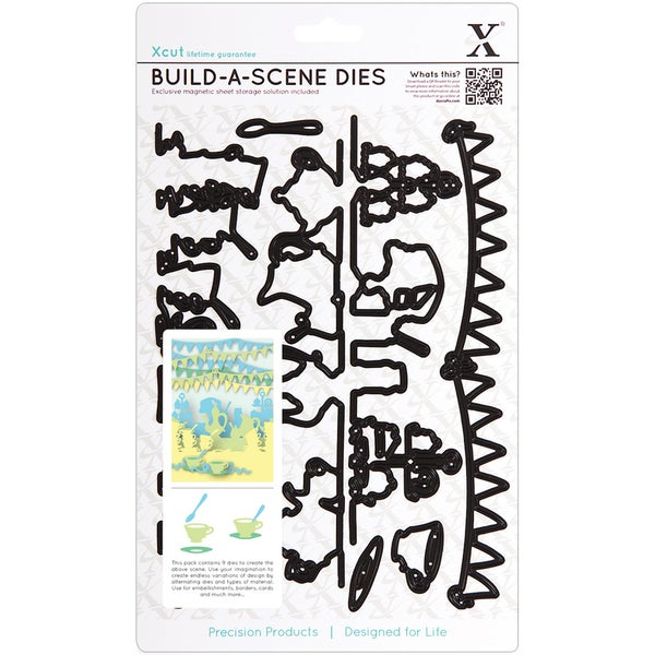 Xcut Build-A-Scene Dies 9 Pieces-Garden Party