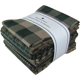 """Fat Quarter Bundles-Green Homespun 12 pieces 18""""X22""""-Green"""