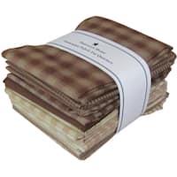 """Fat Quarter Bundles-Brown/Natural Homespun 12 pieces 18""""X22""""-Brown/Natural"""