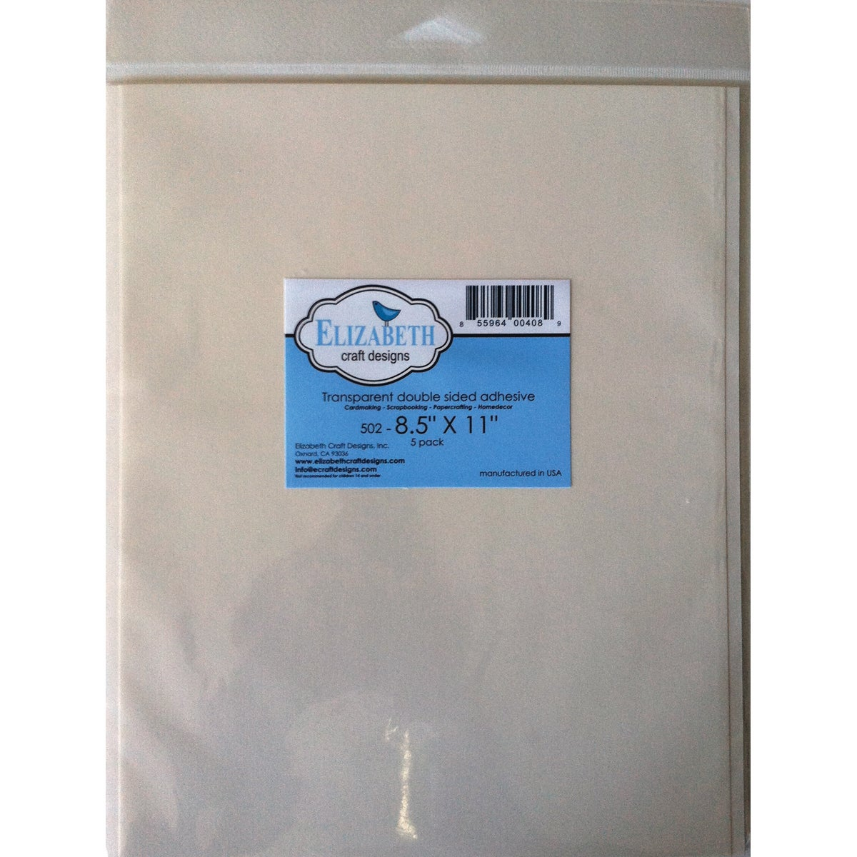 "Elizabeth Craft Double Sided Adhesive 8.5""X11 Sheet 5/Pkg..."