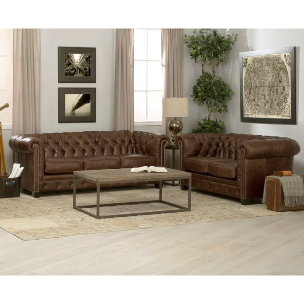 Hancock Tufted Distressed Brown Italian Chesterfield