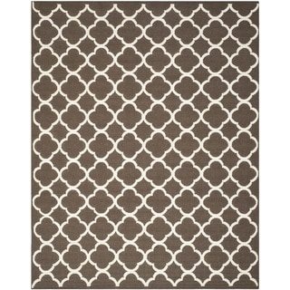 Safavieh Hand-Woven Moroccan Reversible Dhurrie Geometric Brown Wool Rug (9' x 12')