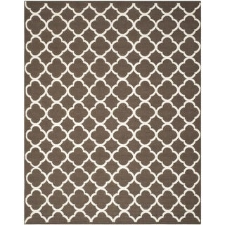 Safavieh Hand-woven Moroccan Reversible Dhurrie Brown Wool Rug (8' x 10')