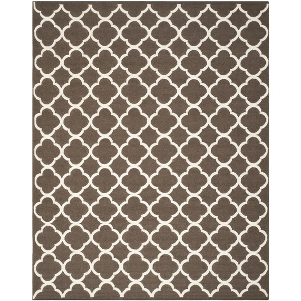 Safavieh Hand-woven Moroccan Reversible Dhurrie Brown Wool Rug - 8' x 10'
