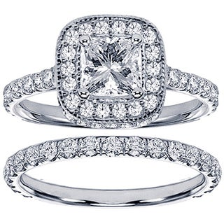Platinum 2 1/2ct TDW Princess Diamond Bridal Set