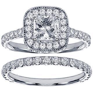 Platinum 2 1 2ct TDW Princess Diamond Bridal Set