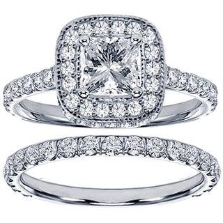 Platinum 2 1/2ct TDW Princess Diamond Bridal Set (More options available)