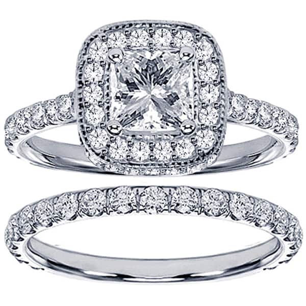 Platinum 2 1/2ct TDW Princess Diamond Bridal Set. Opens flyout.