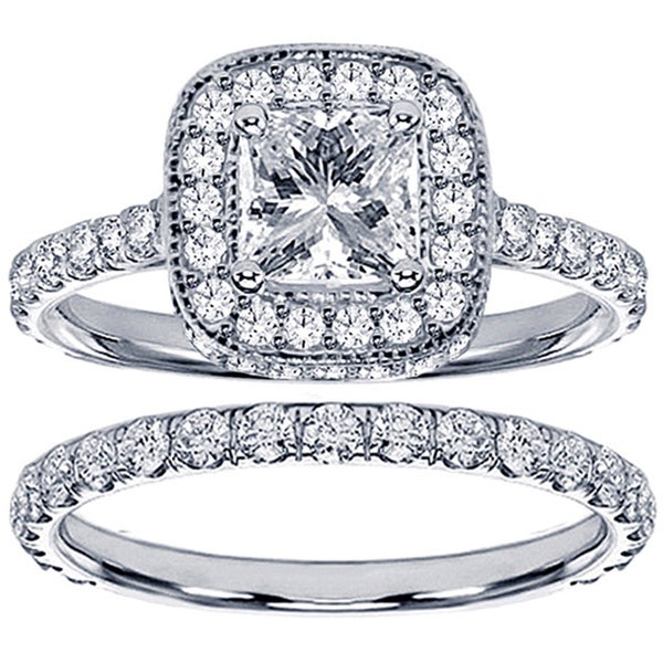 18k White Gold 2 1/2ct TDW Princess Diamond Bridal Set