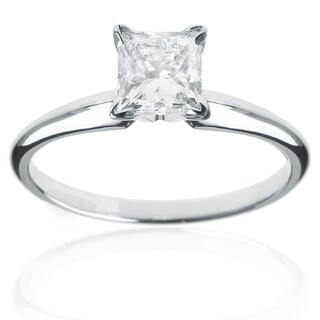 Montebello 14k White Gold 1/4ct Princess Solitaire Engagement Ring