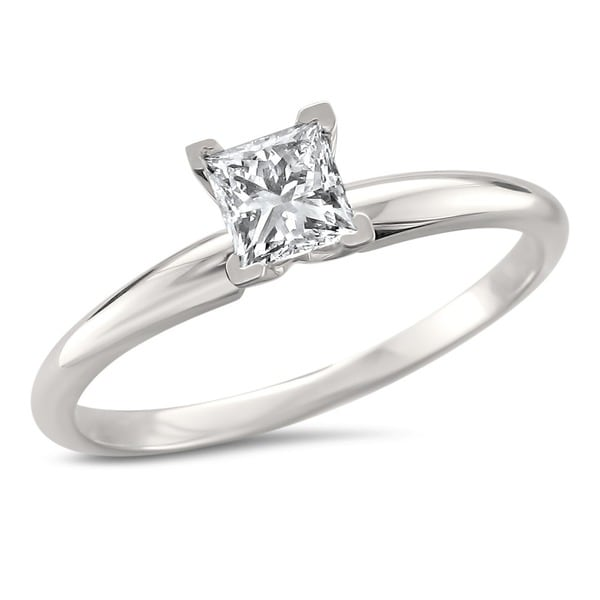 Montebello 14k White Gold 1/2ct Princess Solitaire Engagement Ring