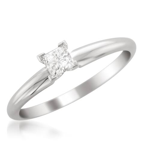 14k White Gold 1/3ct Princess Solitaire Engagement Ring