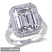 Miadora Sterling Silver Yellow or White Emerald-cut Cubic Zirconia Ring
