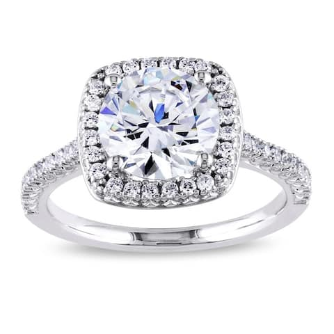 Miadora Sterling Silver White Cubic Zirconia Halo Engagement Ring