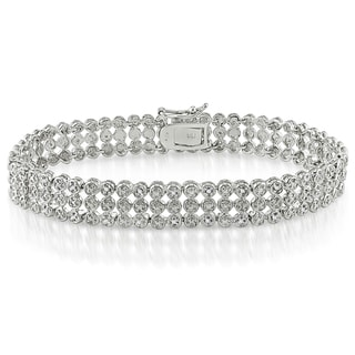Miadora Sterling Silver 1ct TDW Diamond Triple-Strand Bracelet (I-J, I3)