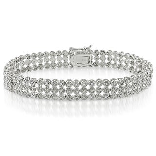 Miadora Sterling Silver 1ct TDW Diamond Triple-Strand Bracelet