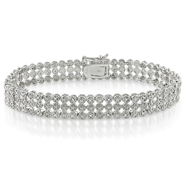 Miadora Sterling Silver 1ct TDW Diamond Triple-Strand Bracelet