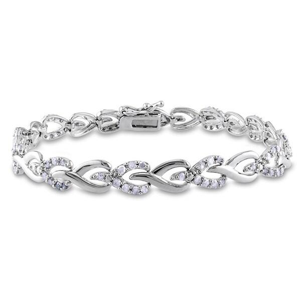 Miadora Sterling Silver 1 3/5ct TDW Diamond Bracelet