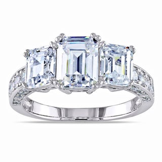Miadora Sterling Silver Emerald-cut Prong-set Cubic Zirconia Ring