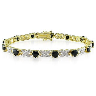 Miadora Yellow Silver Black Sapphire and Diamond Bracelet