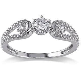 Miadora 14k White Gold 1/5ct TDW Diamond Engagement Ring