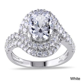Miadora Sterling Silver Yellow or White Round-cut Cubic Zirconia Engagement Ring