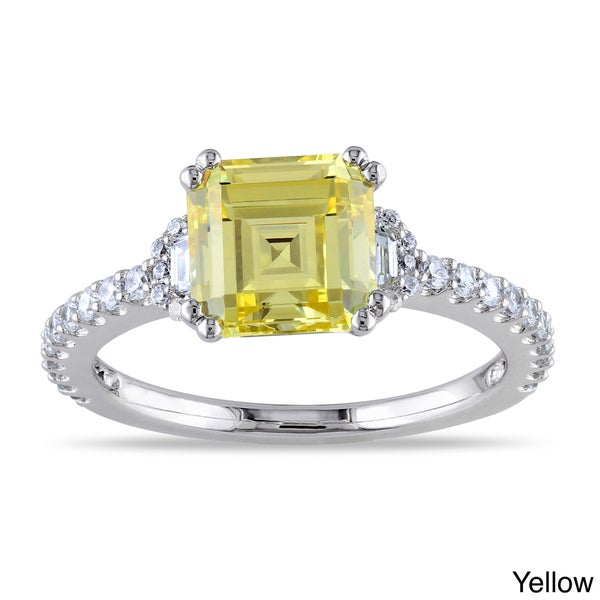 Miadora Sterling Silver Yellow or White Octagon-cut Cubic Zirconia Engagement Ring