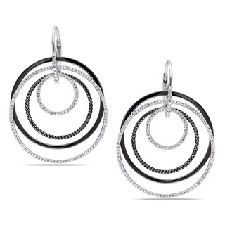 Miadora Sterling Silver 1/4ct TDW Diamond Circle Earrings