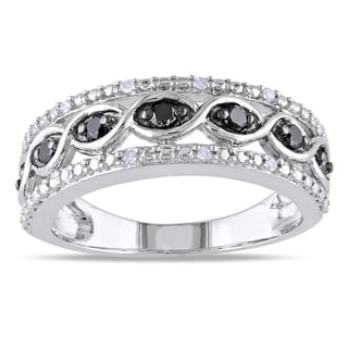 Miadora High Polish Sterling Silver 1/4ct TDW Black and White Diamond Ring
