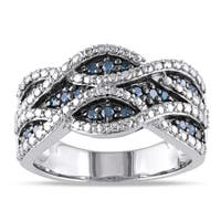 Miadora Sterling Silver 1/4ct TDW Pave Wavy Blue Diamond Ring