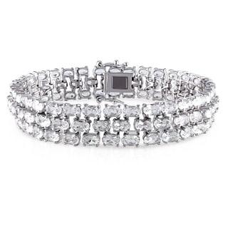Miadora Sterling Silver White Topaz Triple Strand Bracelet