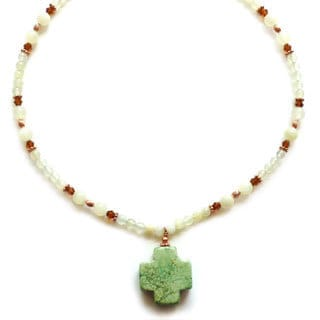 Every Morning Design Sage Green Turquoise Cross Necklace