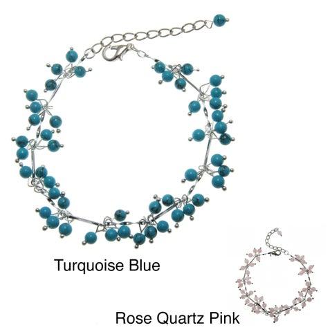 Handmade Turquoise or Rose Quartz Beaded Anklet (China)