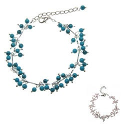 Handmade Turquoise or Rose Quartz Beaded Anklet (China)