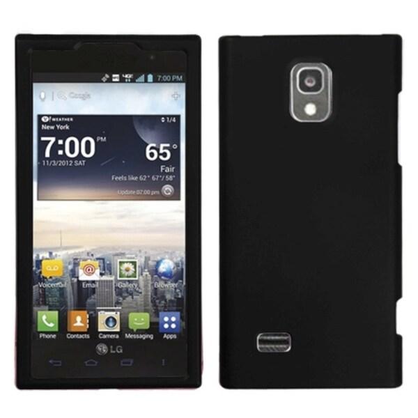INSTEN Black Rubberized Phone Protector Phone Case Cover for LG VS930 Spectrum 2