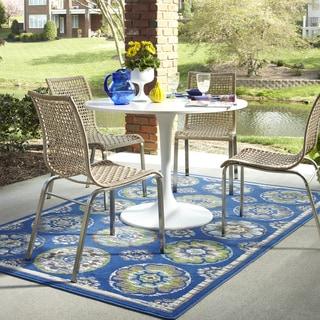 Indoor/Outdoor Tokens Blue Rug (8' x 10')