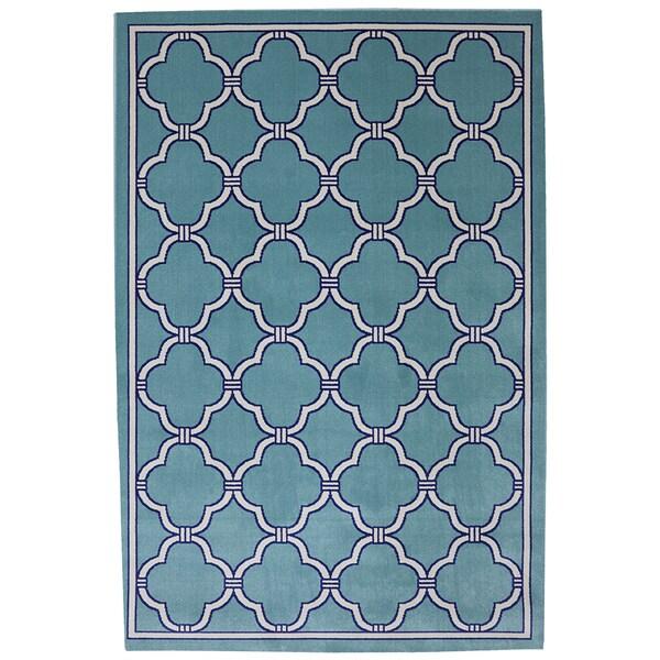 Indoor/ Outdoor Networked Sky Blue Rug (5'3 x 7'6)