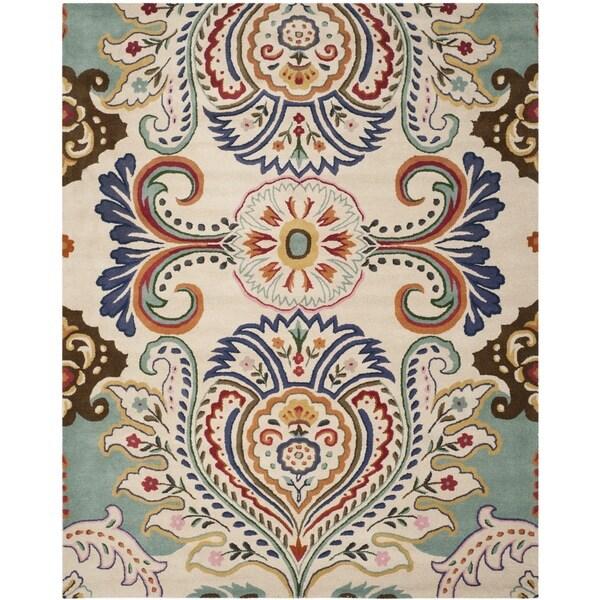 Safavieh Handmade Bella Ivory/ Blue Wool Rug - 8' x 10'